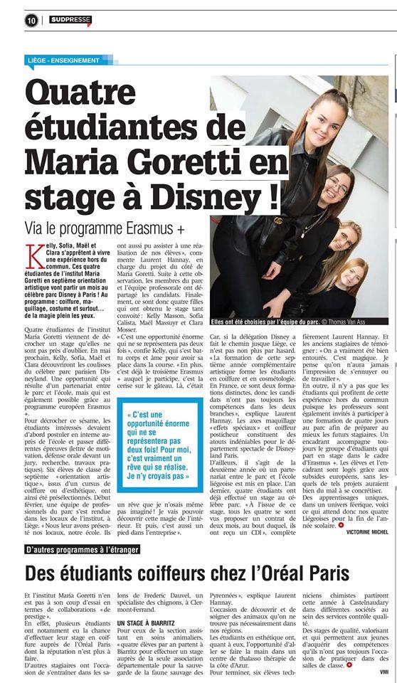 Une page complète dans le journal La Meuse- ERASMUS+ 2020